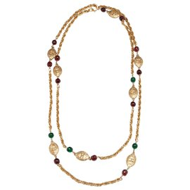 Chanel-HAUTE COUTURE SAUTOIR-Red,Golden,Green