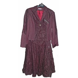 Autre Marque-Tailleur jupe de créateur en laine bouillie-Violet