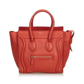 Céline-Leather Luggage Tote Bag-Red