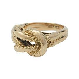 """Hermès-Bague Hermès """"Audierne"""" en or jaune.-Autre"""