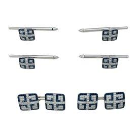 inconnue-Parure boutons de manchette, de col ou de plastron, platine, saphirs et diamants.-Autre