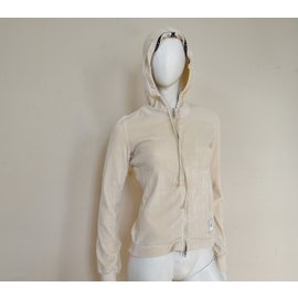 Céline-Céline Off-White Ivory Zipped Velour Hooded Sweatshirt Hoodie Size S SMALL-Beige