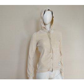 Céline-Sweat à capuche en jersey velours zippé Céline Ivoire blanc cassé Taille S SMALL-Beige