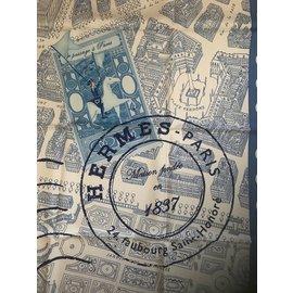 Hermès-Carré Hermès 90 cm De passage à Paris-Blanc,Bleu