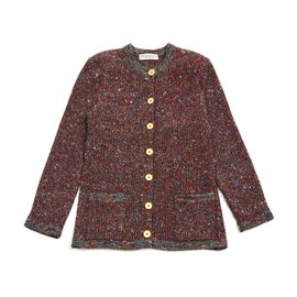 Yves Saint Laurent-burgundy tweed like fr38-Bordeaux