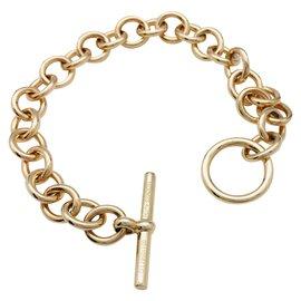 Hermès-Bracelet Hermès maillons ronds or jaune.-Autre