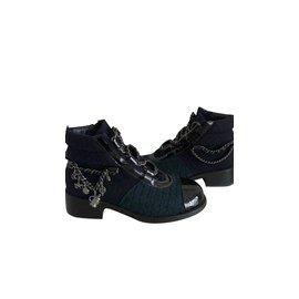 Chanel-Bottes Chanel-Noir,Vert,Bleu Marine