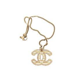 Chanel-Chanel CC necklace-Black,White,Golden