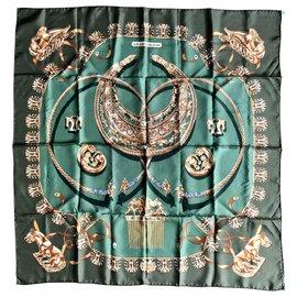 Hermès-Les Cavaliers d'Or-Doré,Vert,Kaki