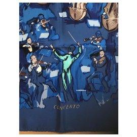 Hermès-Carré Hermès Ccncerto 90-Bleu