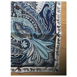 Hermès-Carré Hermès 90 Le Jardin de la Maharani-Bleu