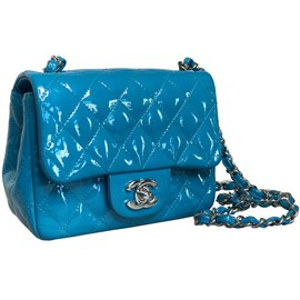 Chanel-with card! timeless classic mini flap-Blue,Light blue,Turquoise