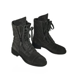 Chanel-Lace up boots-Grey