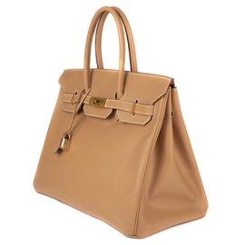 Hermès-Sublime Hermès Birkin 3( en cuir Courchevel Gold, GHW en excellent état !-Doré