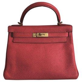 Hermès-hermes kelly 28 en rouge casaque avec bijouterie dorée-Rouge