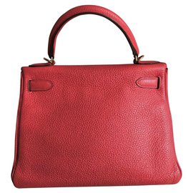 Hermès-hermes kelly 28 in rouge casaque with gold hardware-Red