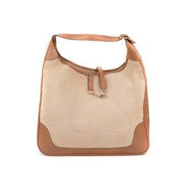 Hermès-Rare Sac Hermès Trim XXL vintage bi-matière en toile H beige et cuir box beige en bon état !-Beige