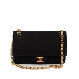 Chanel-Chanel classic vintage bi-material bag in Jersey & black leather in good condition!-Black