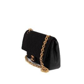 Chanel-Sac Chanel classique vintage bi-matière en Jersey & cuir noir en bon état !-Noir