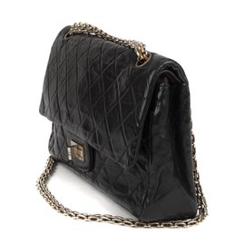 Chanel-Chanel bag 2.55 vintage black quilted leather in good condition!-Black