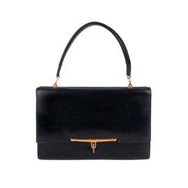 Hermès-Sac vintage Hermès Palonnier en cuir box bleu marine en très bon état vintage !-Bleu Marine