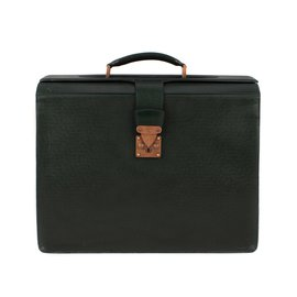 "Louis Vuitton-Louis Vuitton ""Ural Pilot Case"" leather collector's bag in green Taiga leather!-Green"