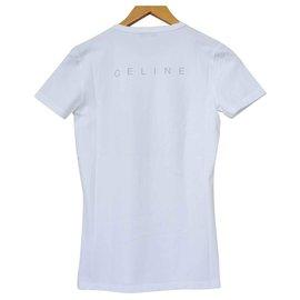 Céline-Céline White T-Shirt Tee Size S SMALL-White
