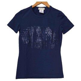 Céline-Céline Blue T-Shirt Tee Size S SMALL-Blue
