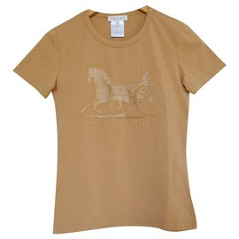 Céline-Céline Embroidered Tan Caramel T-Shirt Tee Size S SMALL-Caramel