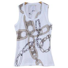 Céline-Céline Chain Print White T-Shirt Tee Size S SMALL-White