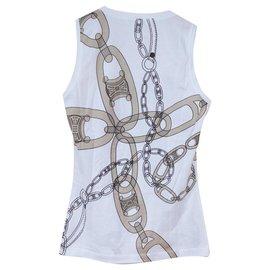 Céline-Céline Chaîne Print Blanc T-Shirt Tee Taille P Petit-Blanc