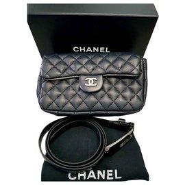 Chanel-Pochette ceinture CHANEL UNIFORME-Noir,Métallisé