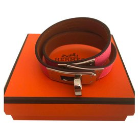 Hermès-Hermes Kelly lined Tower Rose Azalea Bracelet-Pink