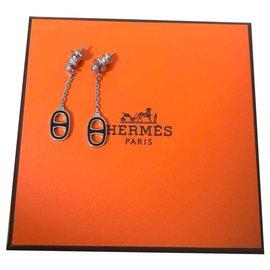 Hermès-Boucles d'oreille Hermès Iliade noires-Noir