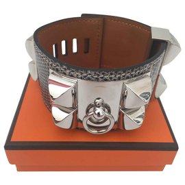Hermès-Hermès Bracelet Shaded Lizard Dog Necklace-Other
