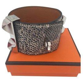 Hermès-Bracelet Hermès Collier de Chien Lézard ombré-Autre