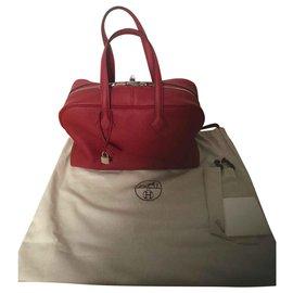 Hermès-Hermes Bag Victoria Red Garnet New-Red