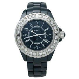 Chanel-Montre Chanel J12 céramique noire, acier et diamants.-Autre