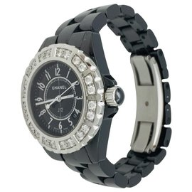 Chanel-Chanel J watch12 black ceramic, steel and diamonds.-Other