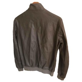 Gucci-Bomber leather jacket-Brown