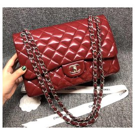 Chanel-Chanel Patent Red Jumbo classic flap bag-Red