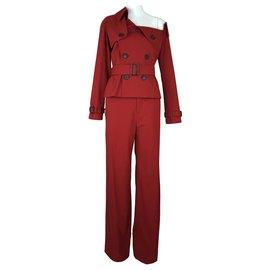 Jean Paul Gaultier-tailleur pantalon-Rouge