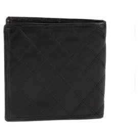 Chanel-Portefeuille Chanel en cuir d'agneau matelassé noir en bon état !-Noir