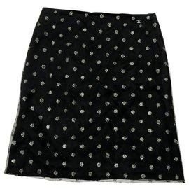 Chanel-Chanel navy mesh skirt-Navy blue