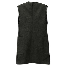 Céline-Celine wool and leather shift dress-Dark grey