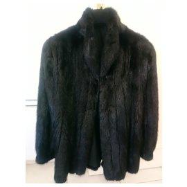 Autre Marque-Manteau fourrure vison noir 40 L-Noir