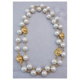 Chanel-Collier Vintage Chanel en plaqué or y perle-Doré,Blanc cassé