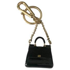 Dolce & Gabbana-Bourses, portefeuilles, cas-Noir,Doré