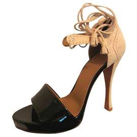 Hermès-Sandales-Noir,Beige
