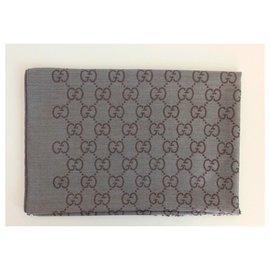 Gucci-GUCCI UNISEX SCIARPA LANA SETA 70 x 200 NUOVO grigio-marrone-Marron,Gris